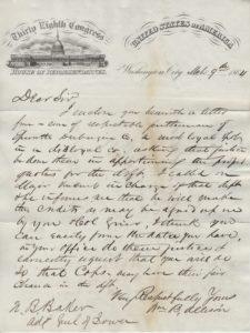 LJTP 200.003 - U.S. Rep. W.B. Allison to Adj. Gen. N.B. Baker