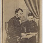 LJTP 100.044 - President Lincoln reading to son Tad - 1864