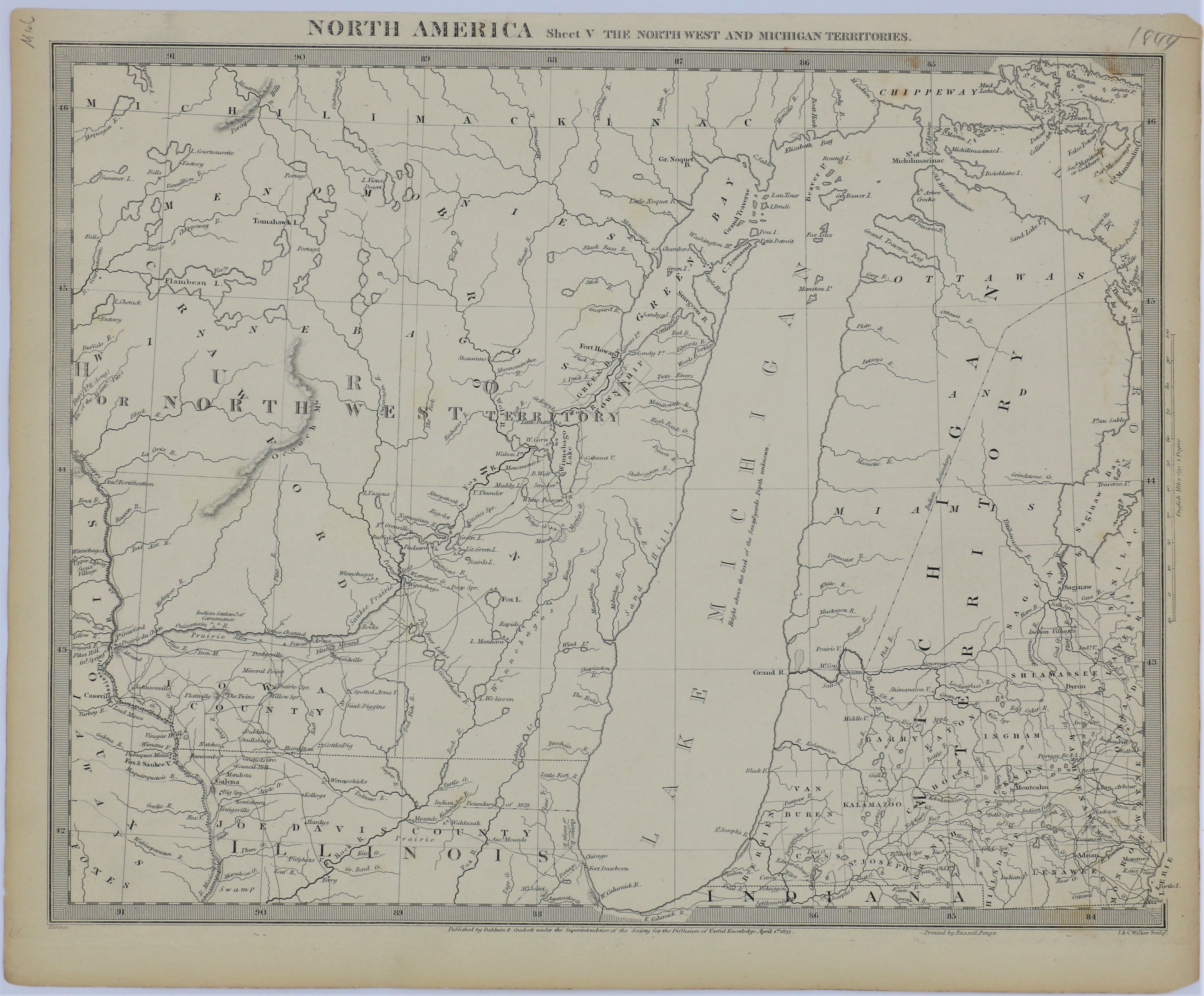 LJTP 500.005 - North America - Sheet V The North West and Michigan Territories - 1833
