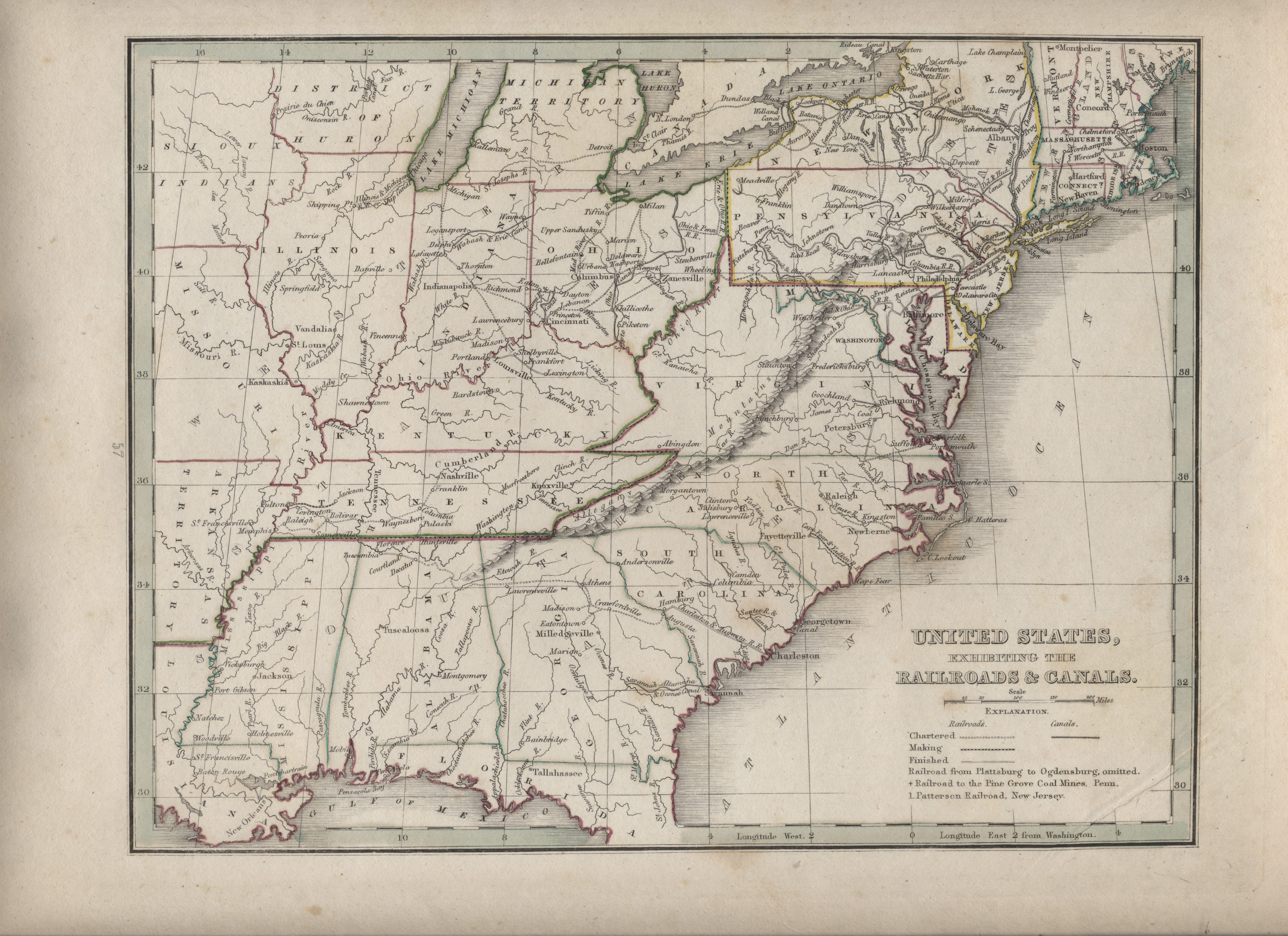LJTP 500.007 - Comprehensive Atlas Geographical, Historical and Commercial - United States Exhibiting the Railroads and Canals - 1835