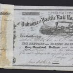 LJTP 400.015 - Dubuque and Pacific RR Stock Certificate - 1858