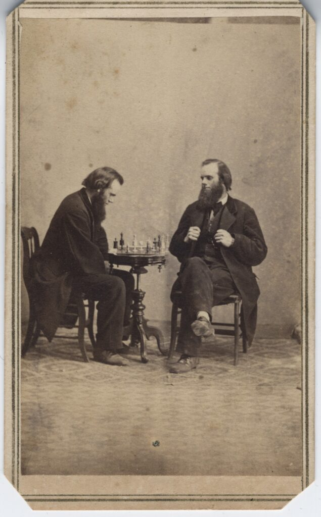 LJTP 100.184 - S. Root Playing chess by S. Root - c.1862