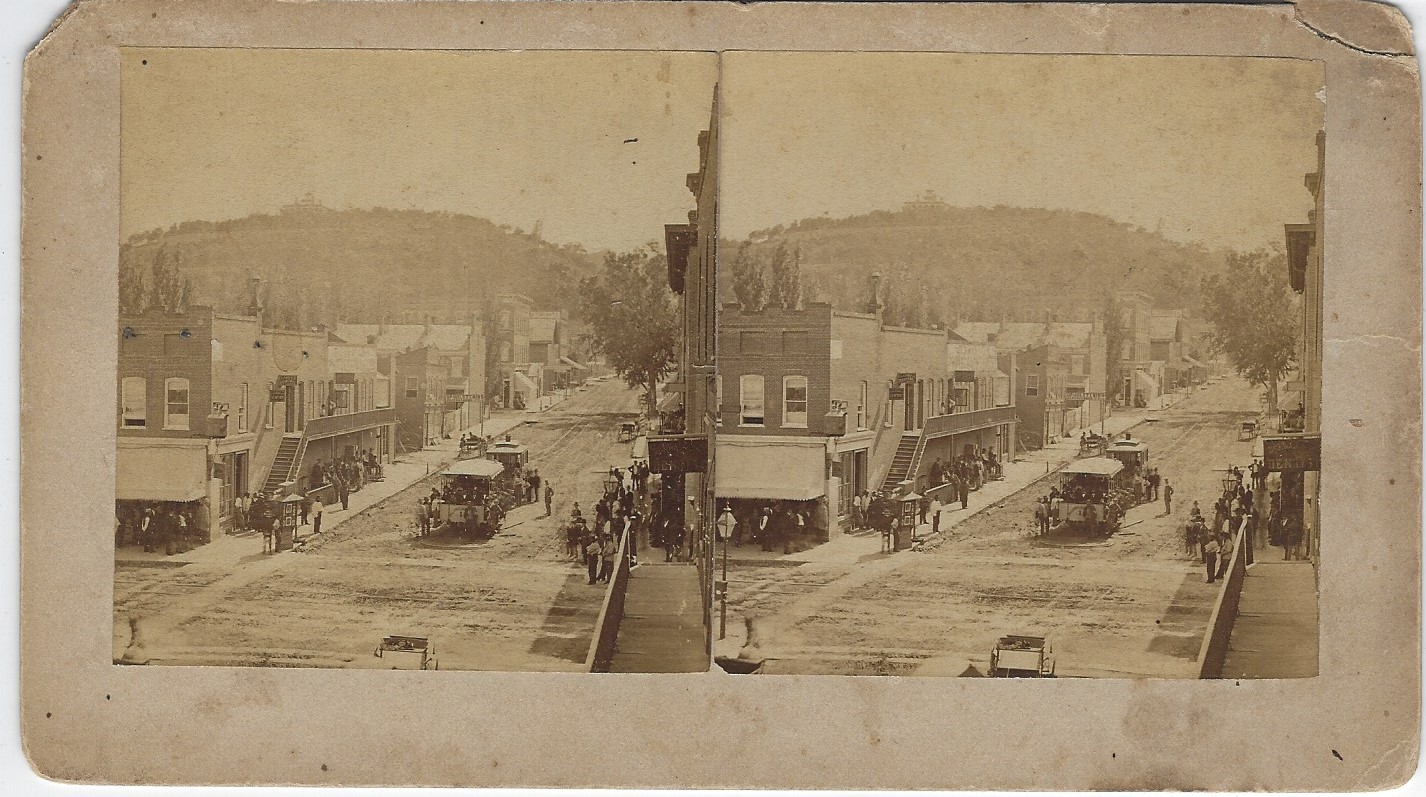 LJTP 100.211 - S. Root - 8th & Main - Maiden trip of Street Car - July 12, 1877