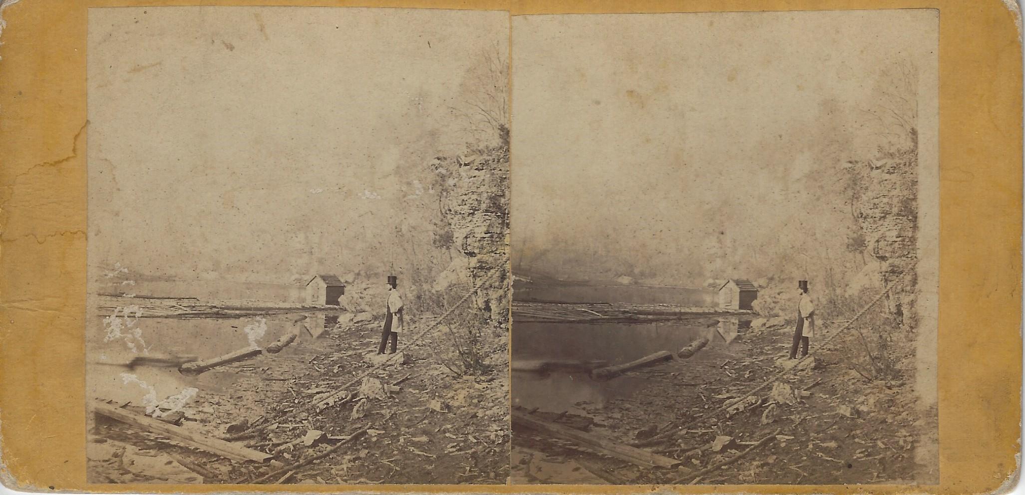 LJTP 100.270 - S. Root SAD - Gentleman surveying Catfish Creek - c1875