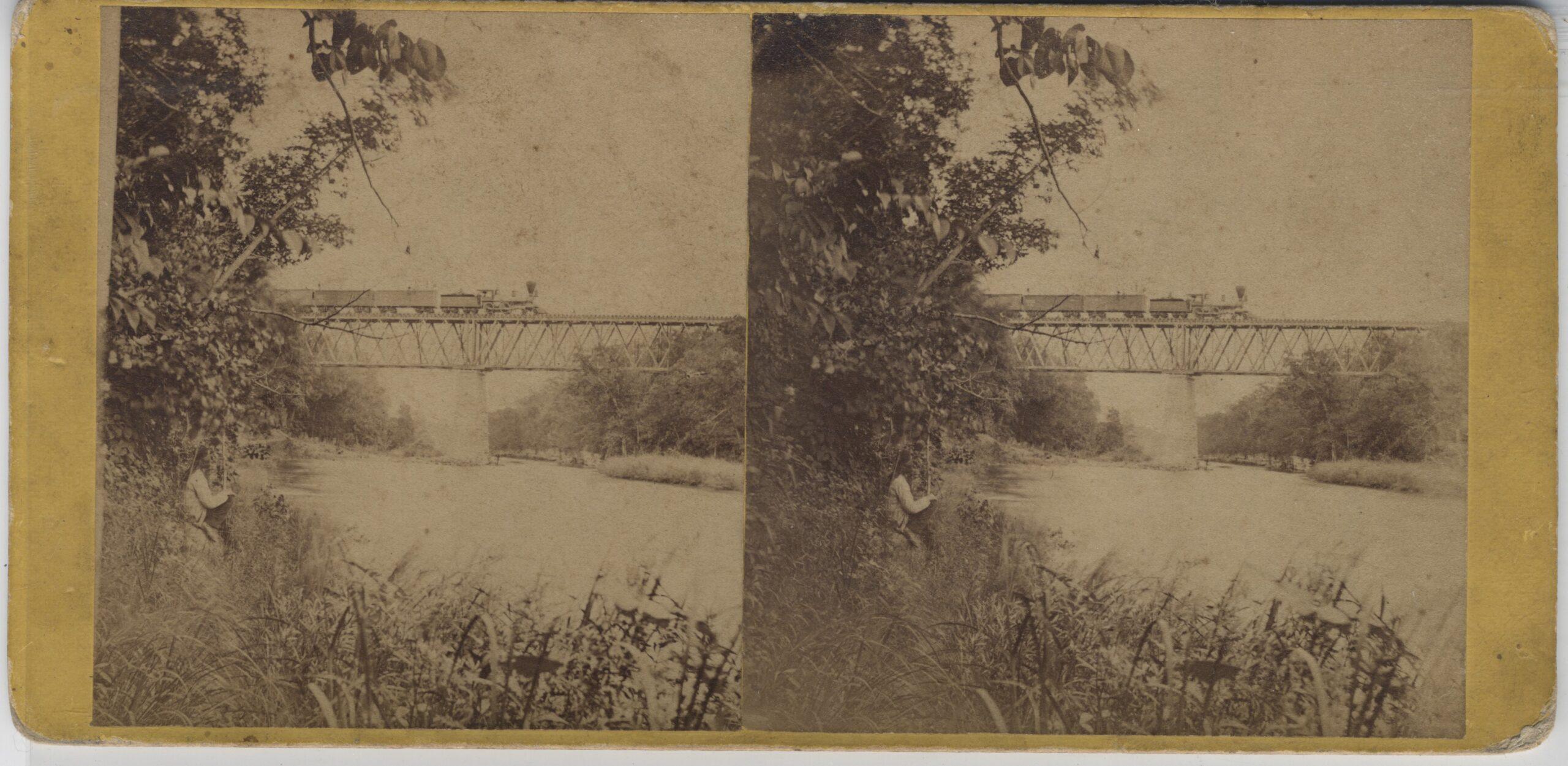 LJTP 100.284 - S. Root - Train on Bridge at Iowa Falls - c1875
